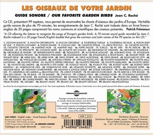 Chants d 39 oiseaux les oiseaux de votre jardin fa648 fr meaux associ s - Chants oiseaux des jardins ...